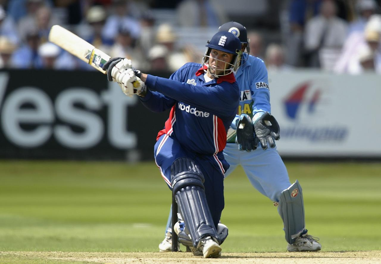 LONDON, ENGLAND - JULY 13:  Marcus Trescothick of England hits a boundery during the match between England and India in the NatWest One Day Series Final at Lord's in London, England on July 13, 2002. (Photo by Clive Mason/Getty Images)