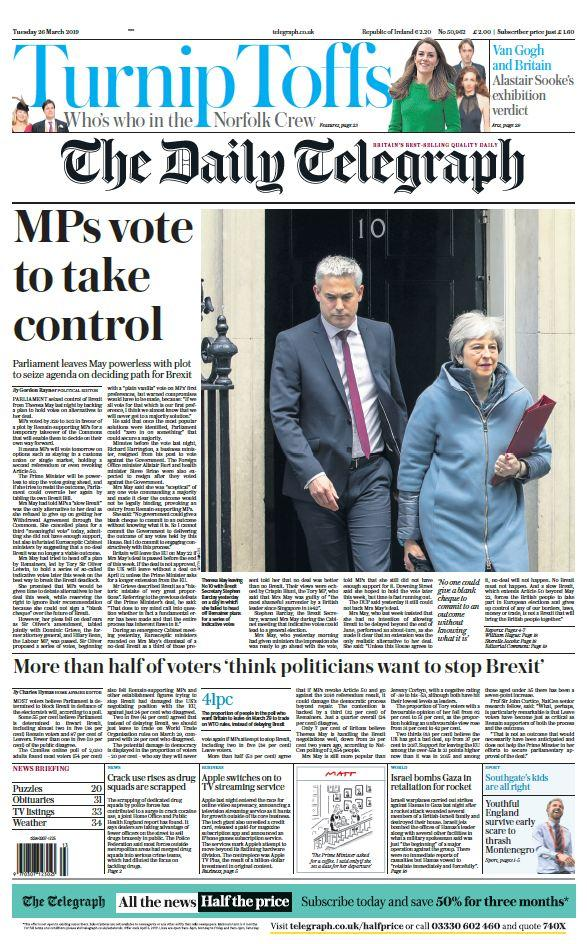 "<p>The Daily Telegraph said Theresa May had been left ""powerless"". </p>"