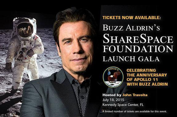 Actor and aviator John Travolta will host the launch gala for Buzz Aldrin's ShareSpace Foundation in July 2015.