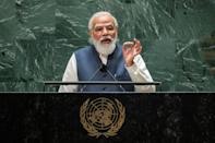 India's Prime Minister Narendra Modi addresses the 76th session of the United Nations General Assembly at UN headquarters on September 25, 2021 in New York (AFP/EDUARDO MUNOZ)