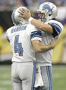 Jason Hanson is congratulated by Matthew Stafford after his winning FG