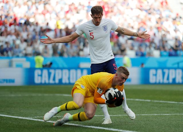 My ball: Jordan Pickford could do little about Panama's goal