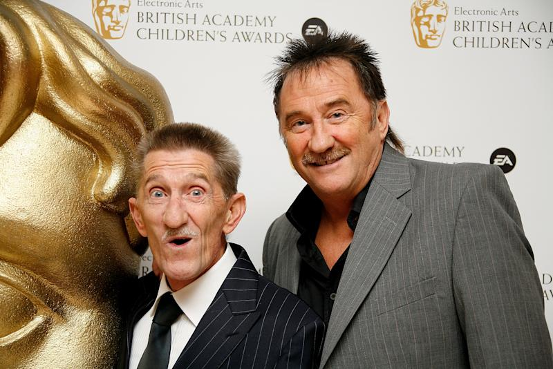 Barry Elliot and Paul Elliot, aka The Chuckle Brothers, arrive at the British Academy Children's Film and Television awards at the London Park Lane Hilton, Park Lane on November 30, 2008 in London, England. (Photo by Gareth Davies/Getty Images)
