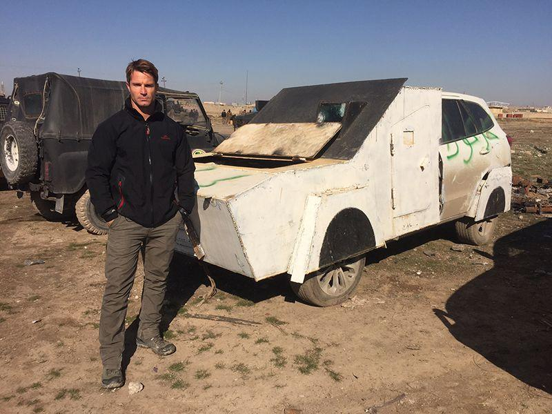 Denham Hitchcock with a captured vehicle car bomb in eastern Mosul.