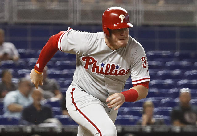 Justin Bour will provide some insurance for the Los Angeles Angels. (AP)