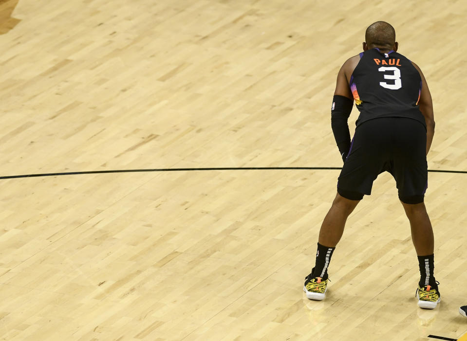 Chris Paul (3) of the Phoenix Suns takes a breather against the Denver Nuggets during the second quarter at Phoenix Suns Arena on Monday, June 7, 2021. The Phoenix Suns hosted the Denver Nuggets for game one of their best-of-seven NBA Playoffs series. (Photo by AAron Ontiveroz/MediaNews Group/The Denver Post via Getty Images)