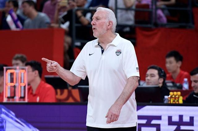 Coach Gregg Popovich and Team USA will be chasing a fourth Olympic Games gold in a row after beating Brazil in the World Cup (AFP Photo/Nicolas ASFOURI)