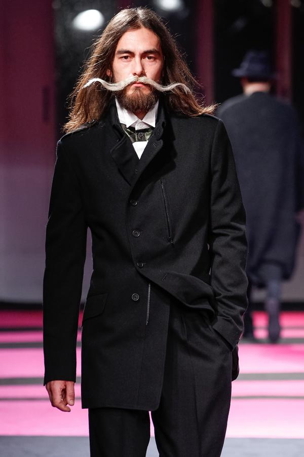 Berlin Fashion Week: Over-sized moustaches were a big catwalk trend ©Rex