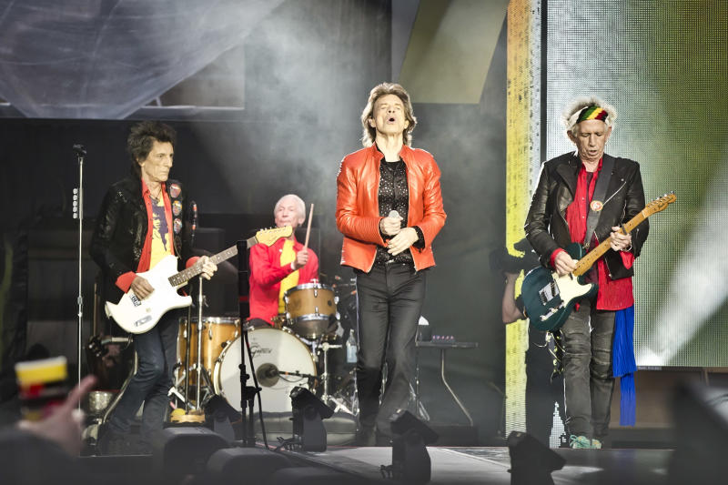 Ronnie Wood, Charlie Watts, Mick Jagger and Keith Richards of The Rolling Stones perform live on stage during a concert at the Olympiastadion on June 22, 2018 in Berlin, Germany. (Photo by Frank Hoensch/Redferns)