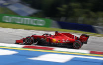 Ferrari driver Sebastian Vettel of Germany steers his car during the second practice session for the Styrian Formula One Grand Prix at the Red Bull Ring racetrack in Spielberg, Austria, Friday, July 10, 2020. The Styrian F1 Grand Prix will be held on Sunday. (AP Photo/Darko Bandic, Pool)