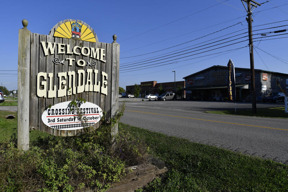 A sign welcomes visitors to the tiny town of Glendale, Ky., the site of a joint venture with Ford Motor Company and SK Innovation to create the $5.8 billion BlueOvalSK Battery Park in Glendale, Ky., Monday, Sept. 27, 2021. The dedicated battery manufacturing complex will be creating 5000 jobs, and is intended to supply Ford's North American assembly plants with locally assembled batteries. (AP Photo/Timothy D. Easley)