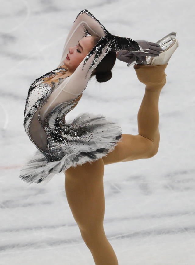 Alina Zagitova of Russia performs during women's short program at the Figure Skating World Championships in Assago, near Milan, Wednesday, March 21, 2018. (AP Photo/Antonio Calanni)