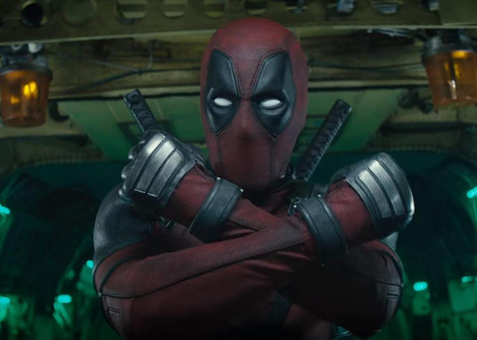 Deadpool strikes a familiar pose… now is that Wonder Woman, Black Panther, and/or Wolverine that he's mocking? (Photo: 20th Century Fox)