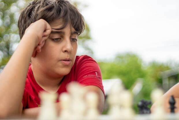 Adam Alsafadl, 12, shown in Hamiton's Victoria Park, and his older brother Yousef, 14, were two of Crooks's first Chess in the Park students. (Wayne MacPhail - image credit)