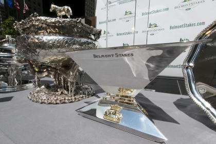 The Triple Crown trophy is displayed during the post position draw for the 147th Belmont Stakes. (AP)