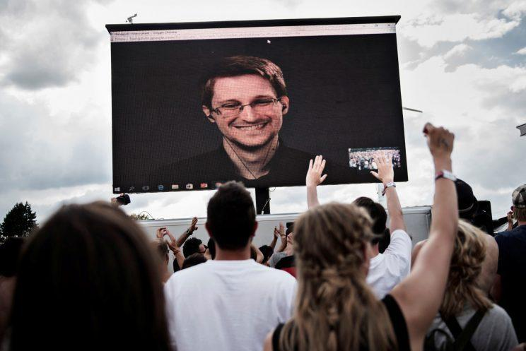 Edward Snowden at the Roskilde Festival in Roskilde, Denmark on June 28, 2016. (Photo: Scanpix Denmark/Mathias Loevgreen Bojesen/via Reuters)