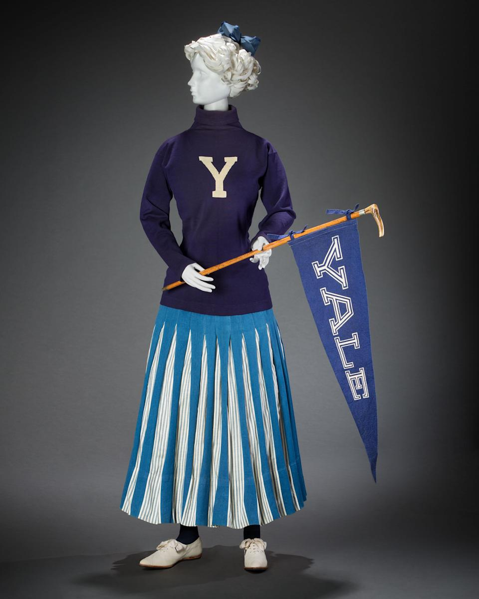 Cheerleading with Spalding sweater int he 1900s. - Credit: Courtesy of FIDM