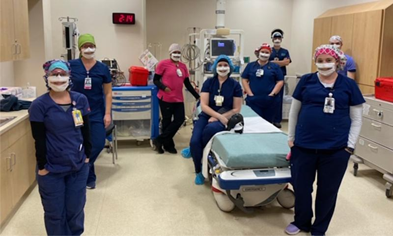 Image: The emergency department night shift at the Nanticoke Memorial Hospital in Seaford, Del., wear partially transparent masks. (Courtesy of Nanticoke Memorial Hospital)