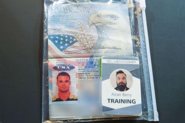 PHOTO: The passport of arrested US citizen Airan Berry, during a video conference meeting with international media correspondents, at Miraflores Presidential Palace in Caracas, May 6, 2020. (Marcelo Garcia/Venezuelan Presidency/AFP/Getty Images)