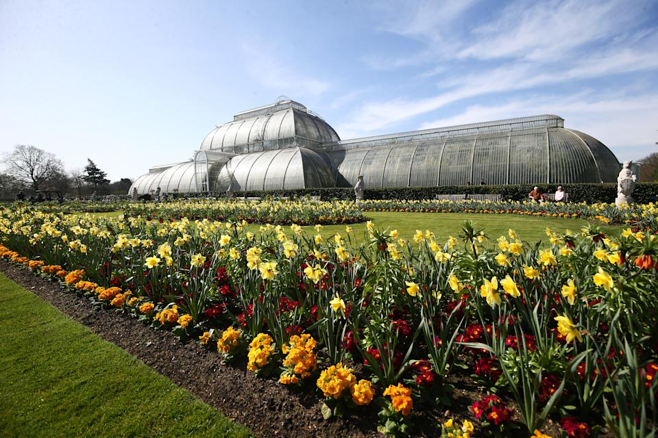 The Palm House at Kew Gardens in south-west London. Picture date: Tuesday March 30, 2021. Temperatures in parts of the UK are expected to be significantly warmer this week as families and friends are reunited and sporting activities are allowed to resume in England. (Photo by Yui Mok/PA Images via Getty Images)