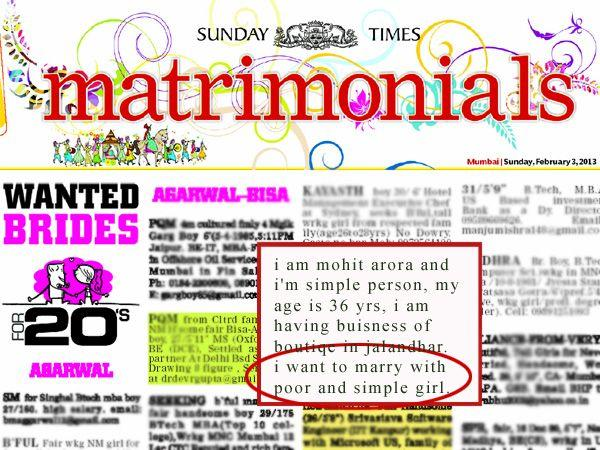 Images via : iDiva.com Come on guys! Maybe he doesn't want to marry someone for her 'riches' :P Related Articles - Mandeep Kaur on Why Matrimonial Websites are Worth a Chance Yay! Matrimonial TV Channel Will Save Our Singleton Souls