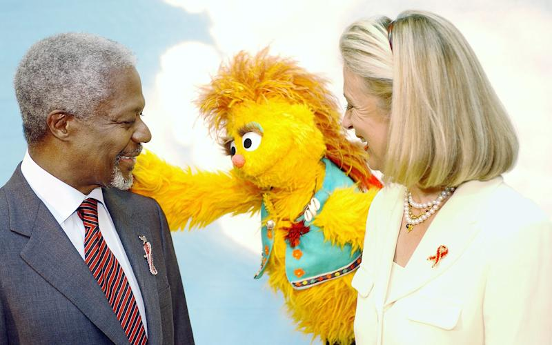 Annan – then UN secretary general – and his wife Nane do a skit with an HIV-positive Muppet on the South African version of Sesame Street - UN Photo/Evan Schneider