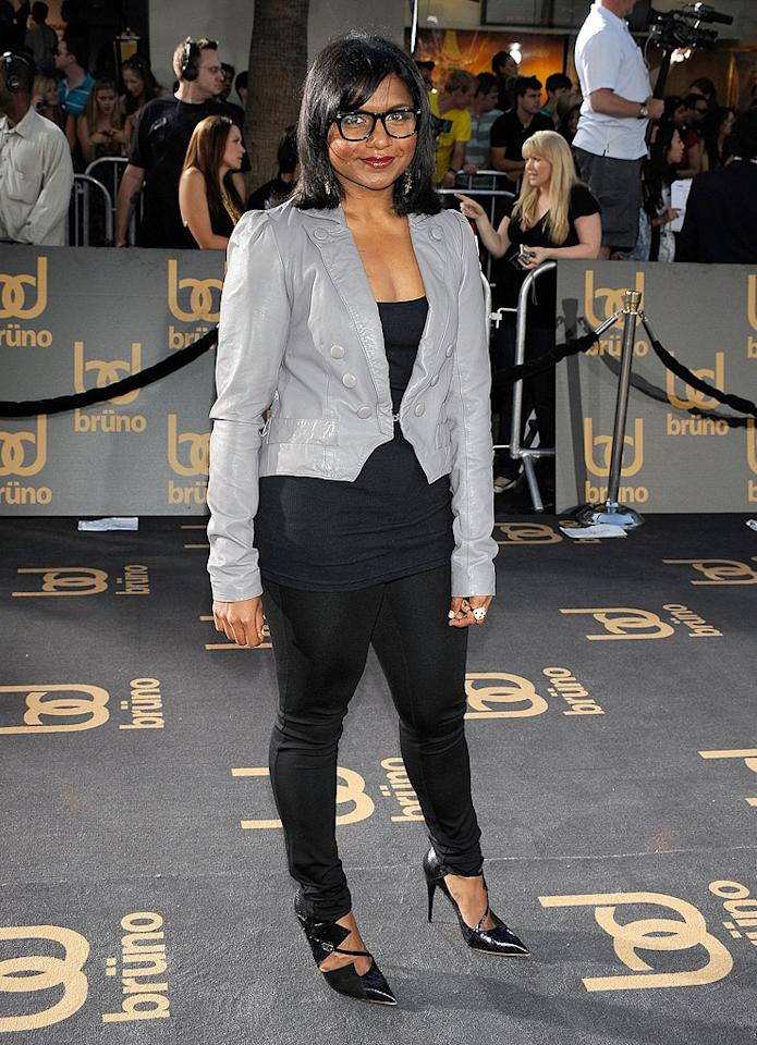 "<a href=""http://movies.yahoo.com/movie/contributor/1809234849"">Mindy Kaling</a> at the Los Angeles premiere of <a href=""http://movies.yahoo.com/movie/1809922951/info"">Bruno</a> - 06/25/2009"