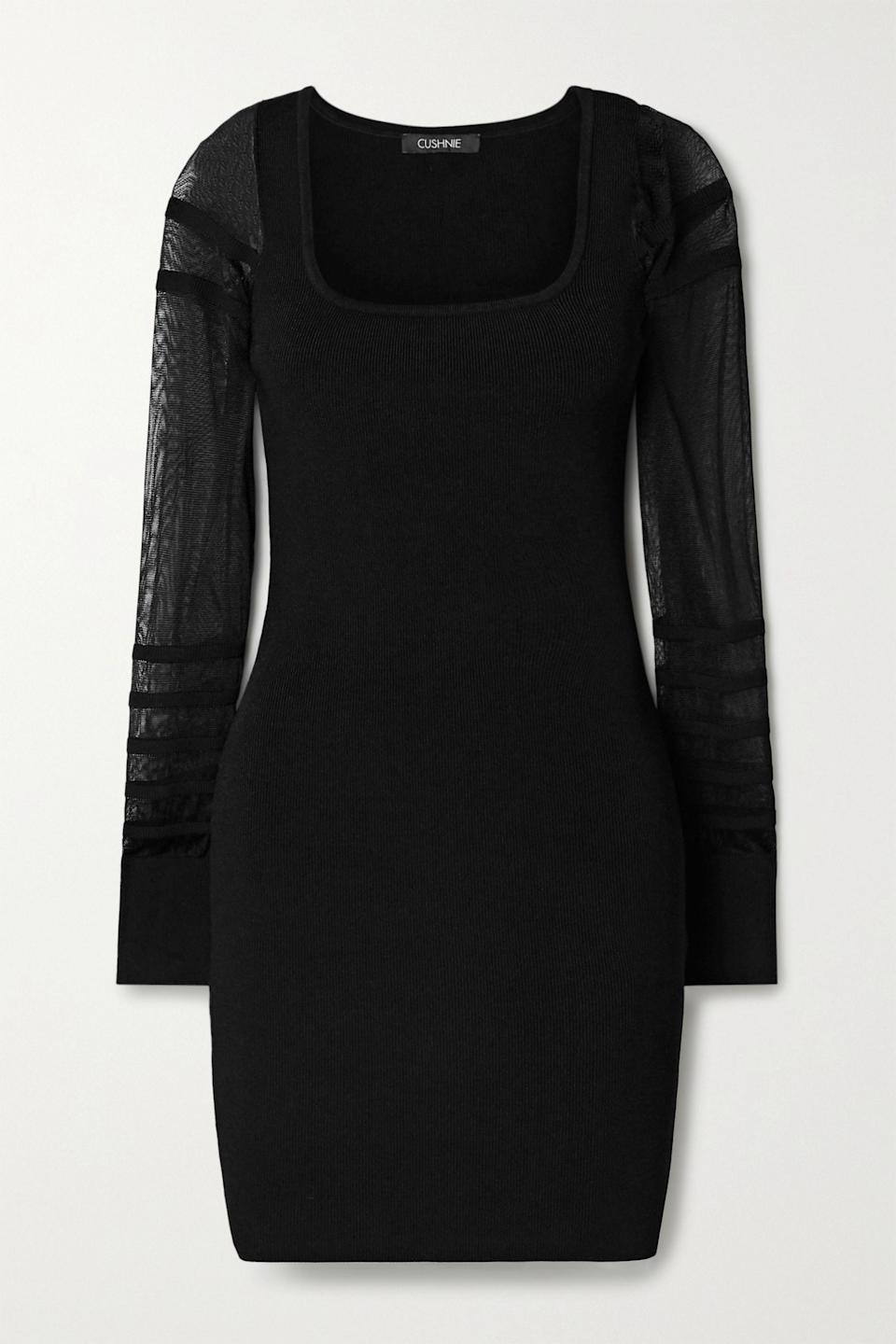 """<p><strong>Cushnie</strong></p><p>net-a-porter.com</p><p><strong>$895.00</strong></p><p><a href=""""https://click.linksynergy.com/deeplink?id=6Km1lFswsiY&mid=24449&murl=https%3A%2F%2Fwww.net-a-porter.com%2Fen-us%2Fshop%2Fproduct%2Fcushnie%2Fpaneled-ribbed-knit-mini-dress%2F1258384"""" rel=""""nofollow noopener"""" target=""""_blank"""" data-ylk=""""slk:Shop Now"""" class=""""link rapid-noclick-resp"""">Shop Now</a></p><p>This is for the woman who exudes glamour and always finds an excuse to dress up. While we're sure she already has many LBD's this one's sheer sleeves make it stand out from the rest.</p>"""