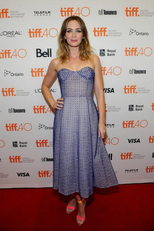"<p>Emily Blunt pulled from the fashion archives — or maybe the back of her (or her stylists') closet for the ""Sicario"" premiere. The actress chose a lilac strapless dress from Dior's Fall 2012 couture collection.</p>"