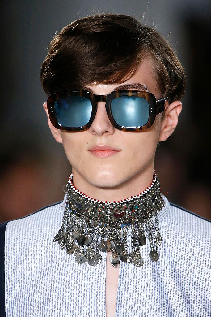 An elaborate men's choker at the Casely-Hayford show during The London Collections Men SS17 at BFC Show Space on June 11, 2016. (Photo: Getty)