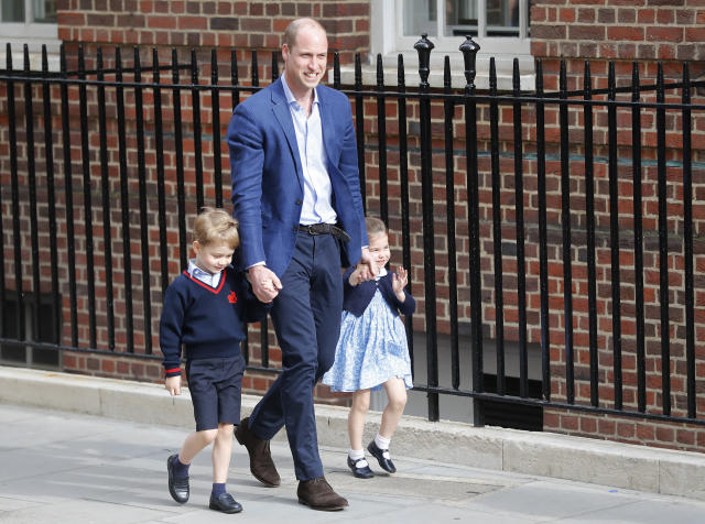 The royal family arrives at St. Mary's Hospital, where the Duchess of Cambridge gave birth Monday morning to a healthy baby boy — a third child for Kate and Prince William and fifth in line to the British throne. (Photo: Frank Augstein/AP)