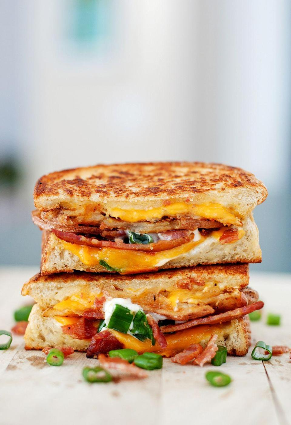 """<p>The epitome of comfort food.</p><p>Get the recipe from <a href=""""http://bsinthekitchen.com/baked-potato-grilled-cheese/"""" rel=""""nofollow noopener"""" target=""""_blank"""" data-ylk=""""slk:BS' In The Kitchen"""" class=""""link rapid-noclick-resp"""">BS' In The Kitchen</a>.</p>"""