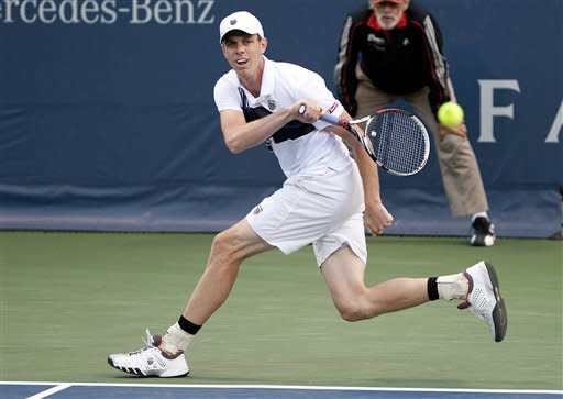 Sam Querrey, of the United States, returns the ball during a semifinals singles match against Rajeev Ram, of the United States, at the Farmers Classic tennis tournament, Saturday, July 28, 2012, in Los Angeles. Querrey defeated Ram in the first two sets and will move onto Sunday's finals. (AP Photo/Grant Hindsley)