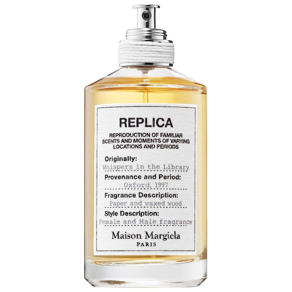 """<p><strong>Maison Margiela</strong></p><p>sephora.com</p><p><strong>$130.00</strong></p><p><a href=""""https://go.redirectingat.com?id=74968X1596630&url=https%3A%2F%2Fwww.sephora.com%2Fproduct%2Freplica-whispers-in-library-P443394&sref=https%3A%2F%2Fwww.marieclaire.com%2Fbeauty%2Fg32959650%2Fbest-fall-perfumes%2F"""" rel=""""nofollow noopener"""" target=""""_blank"""" data-ylk=""""slk:SHOP IT"""" class=""""link rapid-noclick-resp"""">SHOP IT</a></p><p>The only thing better than finishing a good novel is cracking one open to reveal that waxy new book smell, and Maison Margiela's spicy interpretation takes that to an elegant new level. Tonka bean warms the scent, while pepperwood and cedar call the woody scent of an old <a href=""""https://www.marieclaire.com/travel/a30446274/dublin-ireland-travel-guide/"""" rel=""""nofollow noopener"""" target=""""_blank"""" data-ylk=""""slk:gothic library"""" class=""""link rapid-noclick-resp"""">gothic library</a> to mind. </p>"""