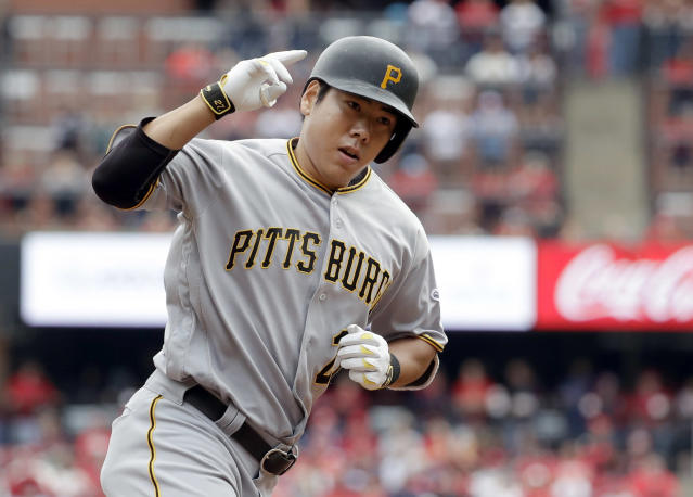 FILE - In this Oct. 1, 2016, file photo, Pittsburgh Pirates' Jung Ho Kang rounds the bases after hitting a three-run home run during the first inning of a baseball game against the St. Louis Cardinals in St. Louis. The Pirates and the veteran third baseman agreed to a one-year deal Thursday, Nob. 8, 2018, that will bring Kang back for the 2019 season. (AP Photo/Jeff Roberson, FIle)