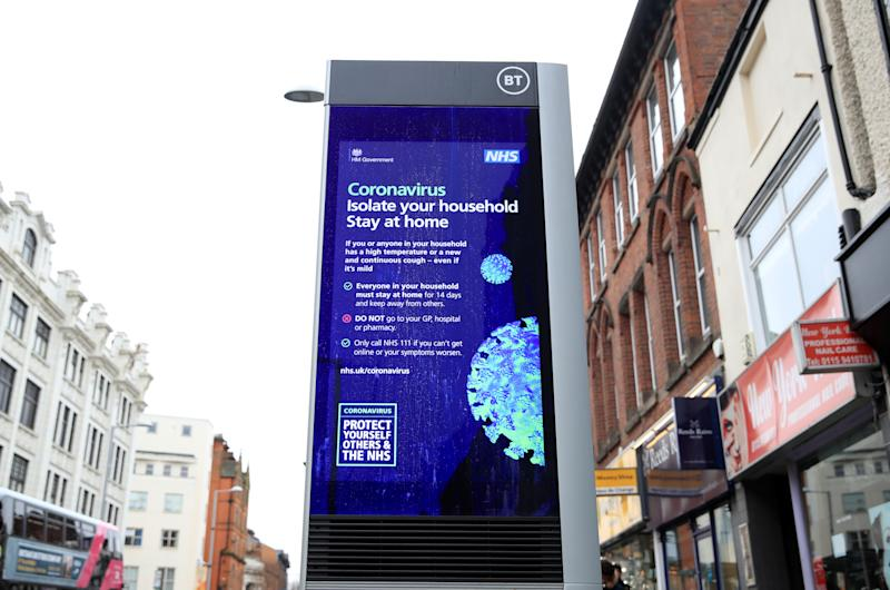 Coronavirus information being shown on an LED information board on Upper Parliament Street in Nottingham after NHS England announced that the coronavirus death toll had reached 137 in the UK.