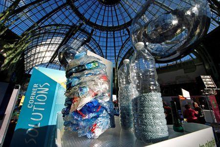 Recycled plastic bottles are pictured at the Grand Palais during the Solutions COP21 in Paris, France, December 4, 2015 as the World Climate Change Conference 2015 (COP21) continues at Le Bourget near the French capital. REUTERS/Benoit Tessier