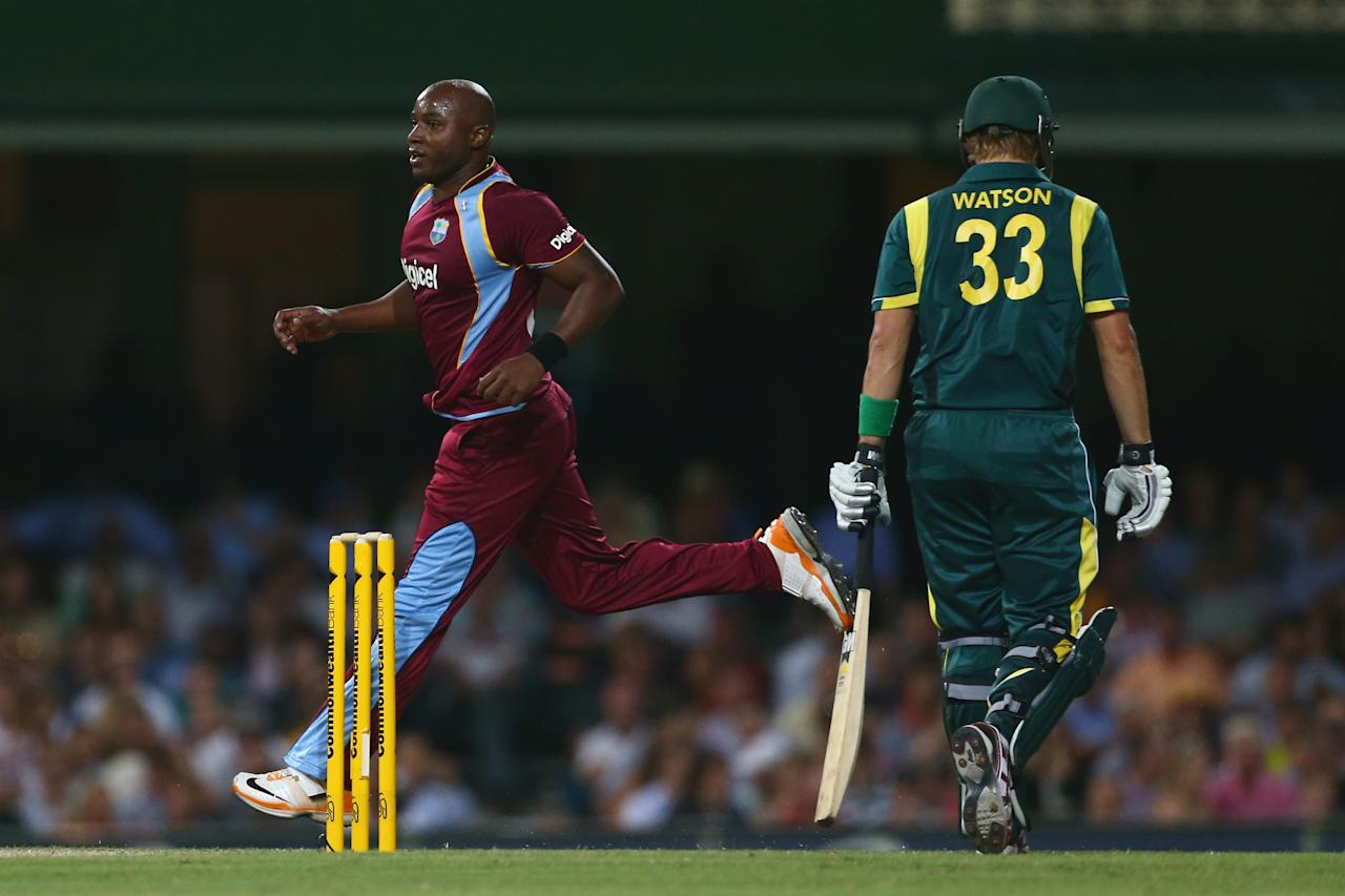 SYDNEY, AUSTRALIA - FEBRUARY 08:  Tino Best of the West Indies celebrates taking the wicket of Shane Watson of Australia during game four of the Commonwealth Bank One Day International Series between Australia and the West Indies at Sydney Cricket Ground on February 8, 2013 in Sydney, Australia.  (Photo by Mark Kolbe/Getty Images)