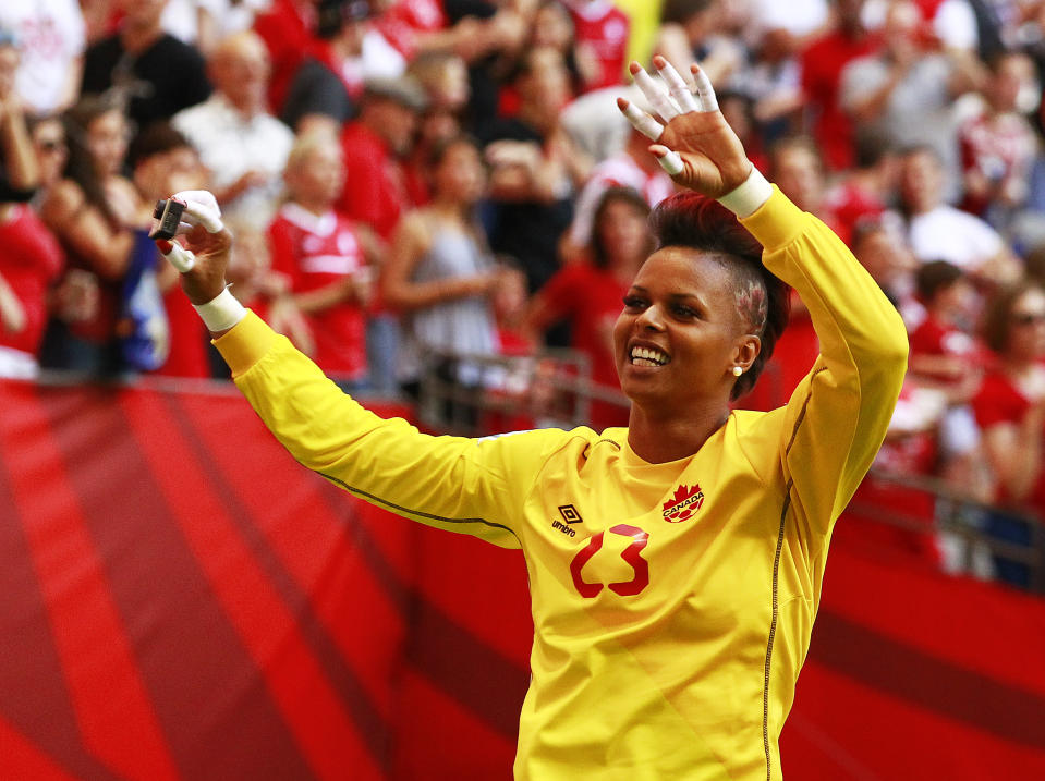 Karina LeBlanc #23 of Canada waves to the fans after Canada's win at the FIFA Women's World Cup Canada 2015 Round 16 match between Switzerland and Canada at BC Place Stadium in Vancouver, Canada in 2015. (Photo: Jeff Vinnick/Getty Images)