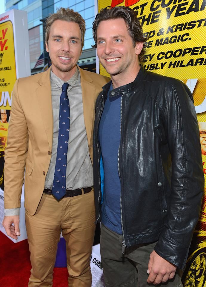 "LOS ANGELES, CA - AUGUST 14:  Actors Dax Shepard and Bradley Cooper arrive to the premiere of Open Road Films' ""Hit and Run"" on August 14, 2012 in Los Angeles, California.  (Photo by Alberto E. Rodriguez/Getty Images)"