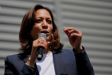 FILE PHOTO: Democratic 2020 U.S. presidential candidate Harris speaks at a campaign house party in Gilford