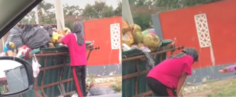 The woman looked physically drained and tired while she was looking for recyclable items to sell. — Screenshot via TikTok/@nadyazaira92