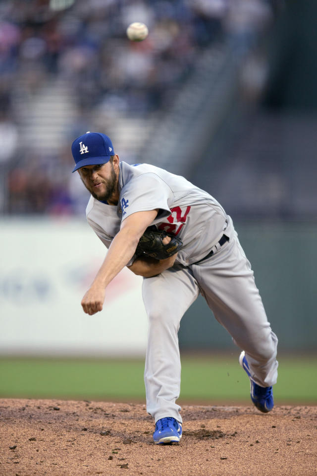 Los Angeles Dodgers starting pitcher Clayton Kershaw delivers to a San Francisco Giants batter during the first inning of a baseball game Friday, June 7, 2019, in San Francisco. (AP Photo/D. Ross Cameron)