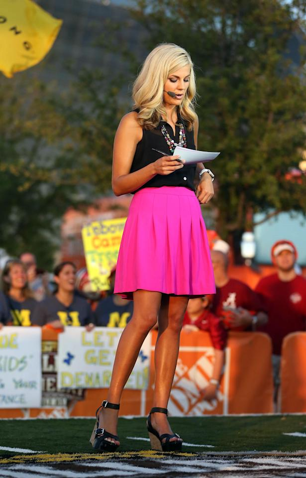 Samantha Steele is shown on the set of ESPN College Gameday.