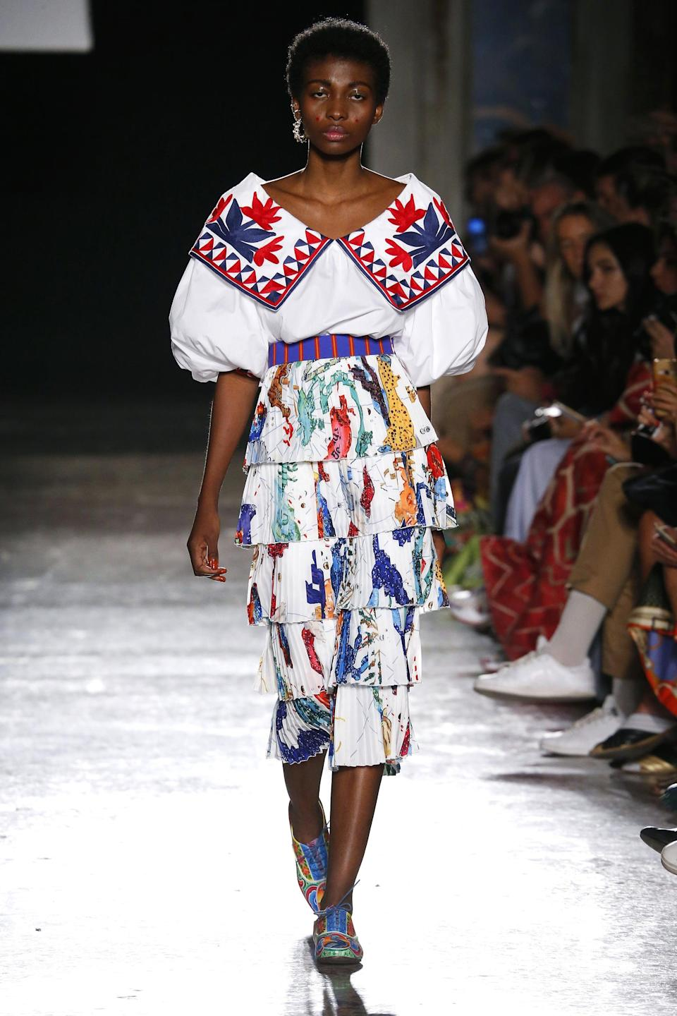 <p>With an eponymous founder of Haitian-Italian descent, Stella Jean leans heavily into cultural references. Bold prints married with free-flowing fabrics are the name of the game here, leaving the floor open for you to choose between a fun printed dress, bohemian top, or loose-fitting pants. </p>