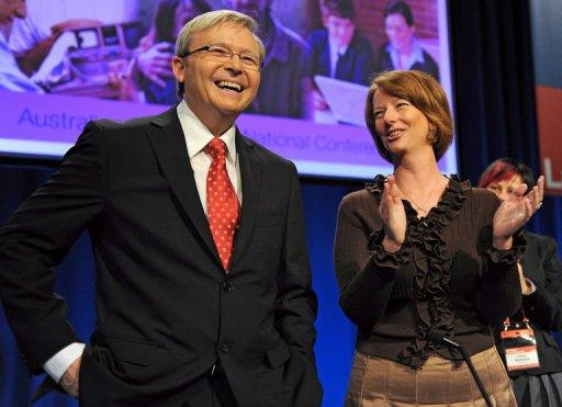 Former Australian leader Kevin Rudd has thrown his support behind the woman who ousted him, Julia Gillard (both seen here in 2009), to lead Labor at the next election, but only after repeated prompting