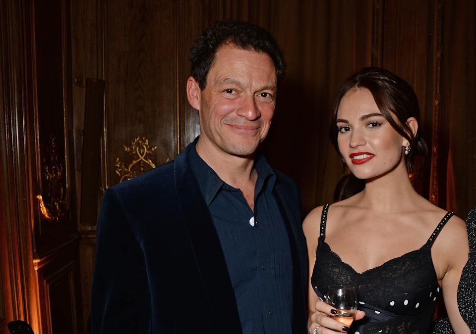 LONDON, ENGLAND - OCTOBER 30:  (L to R) Dominic West, Lily James and Laura Carmichael attend the Harper's Bazaar Women Of The Year Awards 2018, in partnership with Michael Kors and Mercedes-Benz, at Claridge's Hotel on October 30, 2018 in London, England.  (Photo by David M. Benett/Dave Benett/Getty Images for Harper's Bazaar/Hearst UK) *** Local Caption *** Dominic West; Lily James; Laura Carmichael