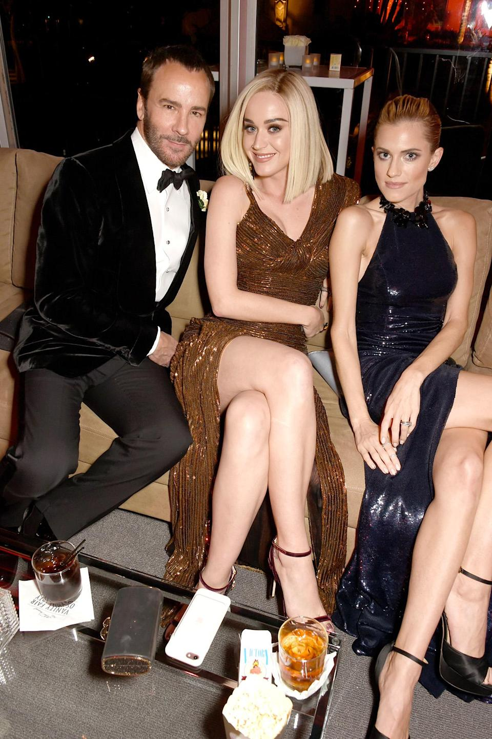 <p>(L-R) Designer Tom Ford, Katy Perry, and Allison Williams attend the 2017 Vanity Fair Oscar Party hosted by Graydon Carter at Wallis Annenberg Center for the Performing Arts on February 26, 2017 in Beverly Hills, California. (Photo by Dave M. Benett/VF17/WireImage) </p>
