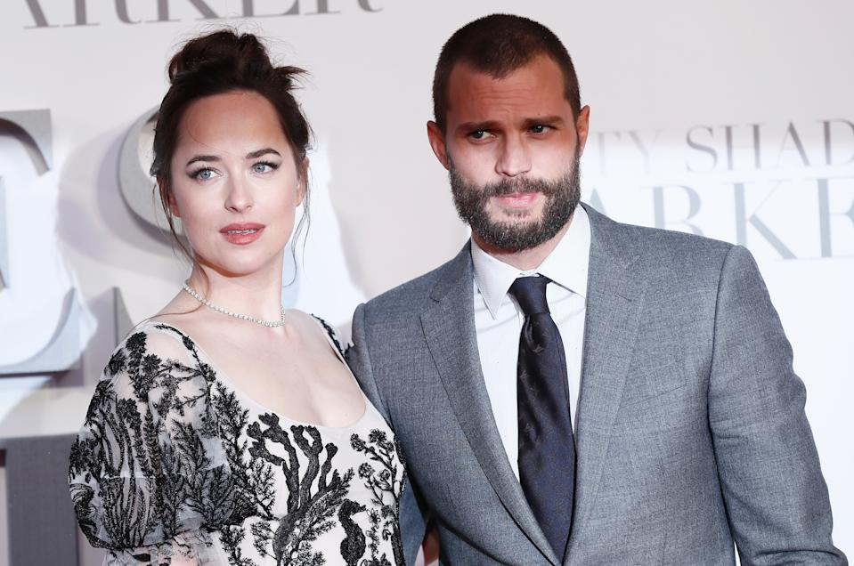 Jamie Dornan and Dakota Johnson arrive at the UK premiere of Fity Shades Darker, in Leicester Square,  London, Britain, February 9, 2017. REUTERS/Stefan Wermuth