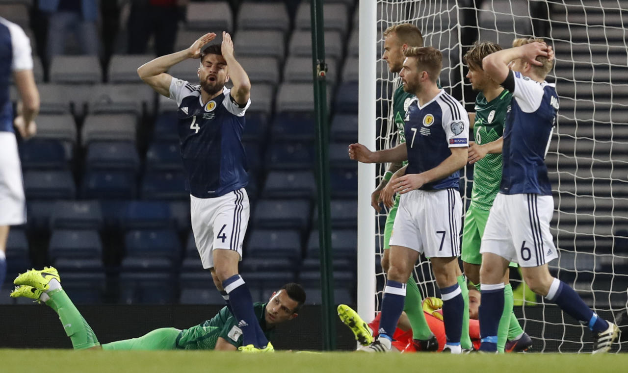 Britain Football Soccer - Scotland v Slovenia - 2018 World Cup Qualifying European Zone - Group F - Hampden Park, Glasgow, Scotland - 26/3/17 Scotland's Russell Martin reacts after scoring a disallowed goal Reuters / Russell Cheyne Livepic EDITORIAL USE ONLY.